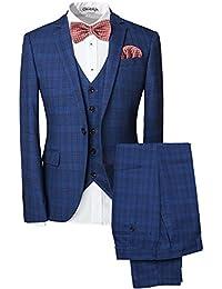 Vestito da uomo 3 pezzi, giacca a bottone, motivo: fantasia scozzese, per matrimonio, feste, eventi