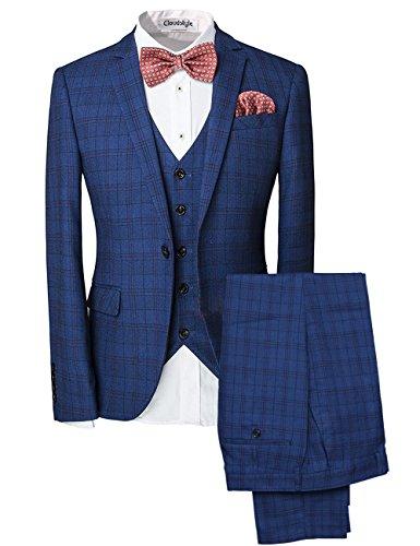 Slim Fit Schnitt Herren ein knopf 3-Teilig Anzug Kariert Design mit Weste +Fliege Hochzeit Party (Drei-knopf-weste)