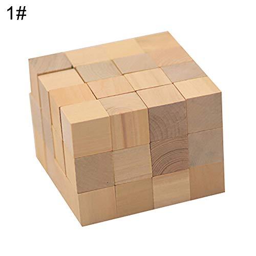0Miaxudh Pädagogische Kinder Spielzeug 100 Stücke Holz Quadratische Würfel Bausteine Mathematikunterricht Versorgung - Holz Farbe