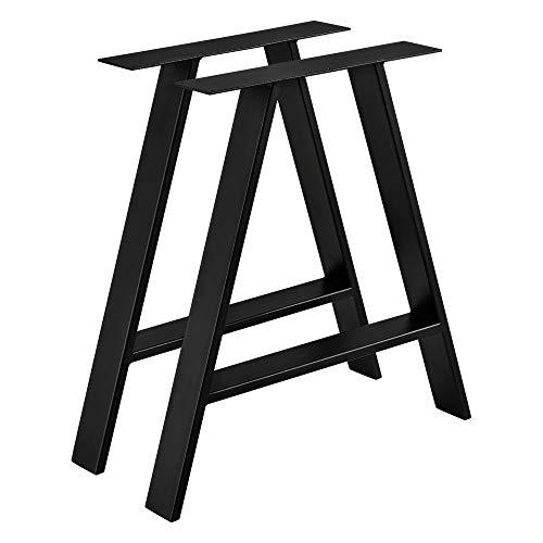 [en.casa] 2X Tischbein Tischgestell im Set 70x10x72 cm Möbelbein Stahl DIY Tischzubehör für Esstisch Schreibtisch Bürotisch Möbelfüße Metallgestell Schwarz