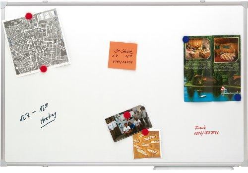 Franken SC2109 Schreibtafel (magnethaftend, Alurahmen mit Ablageleiste, schutzlackiert) 150 x 100 cm, lackiert weiß