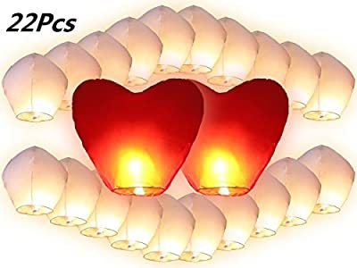 JRing Flying Lantern, 22Pcs White Sky Lanterns Includes 2Pcs Giant Red Love Heart Sky Lanterns, Flying Sky Lanterns, Traditional Chinese Flying Glowing Lanterns For Christmas / Wedding / Valentine's Day/ New Year Eve by JRing