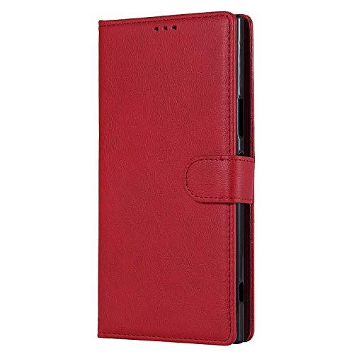 Bear Village® Hülle für Sony Xperia XA1 Ultra, Flip Leder Handyhülle Tasche mit Kartensfach, TPU Innere Ledertasche, 360 Grad Voll Schutz, Rot