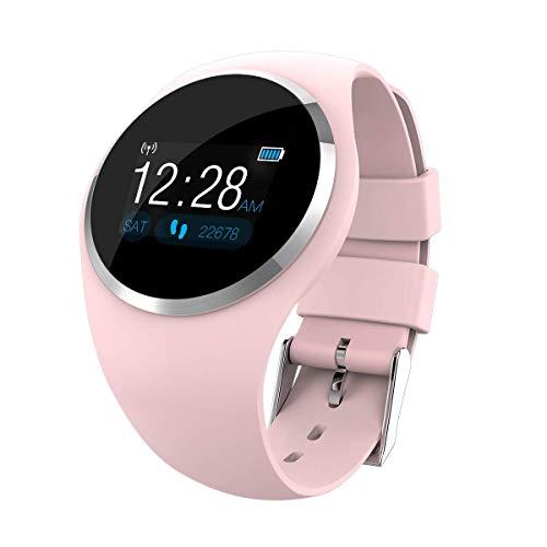 Imagen de meiwen2019 pulsera de actividad, reloj inteligente con pulsómetro y presión arterial relojes deportivos gps impermeable ip67 monitor de ritmo cardíaco actividad pulsera reloj fitness podómetro rosa