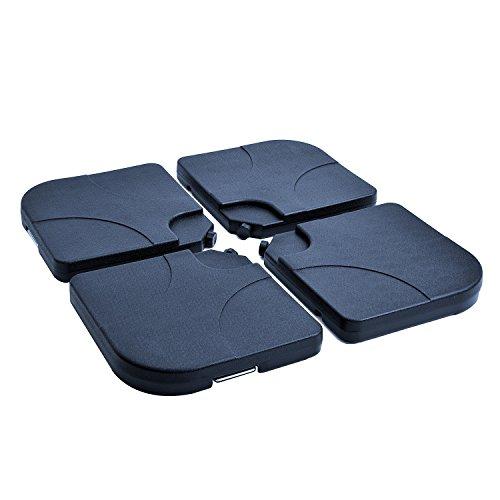 Outsunny Lot de 4 Poids de lestage carré avec poignée pour Parasol 50 x 50 x 8 cm polyéthylène Haute densité Noir