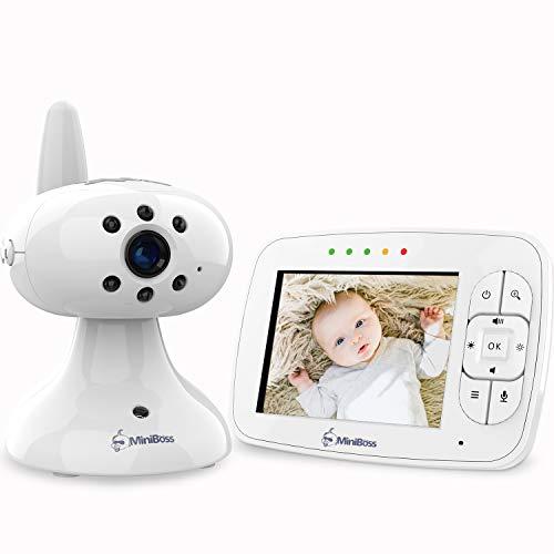 """MiniBoss Babyphone mit Kamera 3.5\"""" LCD Wireless Video Baby Monitor für Nachtsicht Temperaturüberwachung Wiegenlieder"""