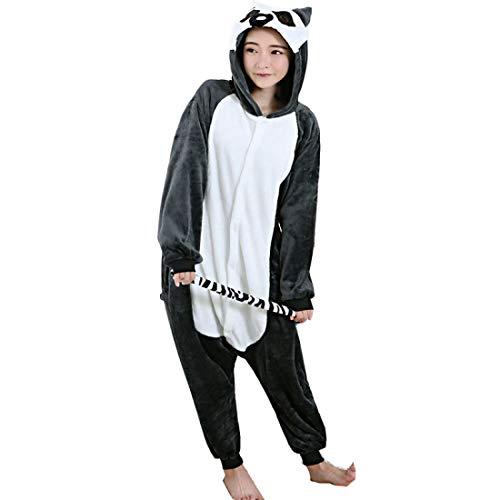 Für Erwachsene Lemuren Pyjama Kostüm - DUKUNKUN Erwachsene Pyjamas AFFE/Lemur Pyjamas Kostüm