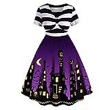 Bluestercool Robes d'halloween Femme Vintage Imprimé Robe de Fête Col en V Manches...