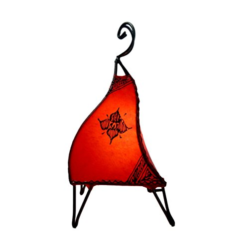 Orientalische Lampe Stehlampe marokkanische Hennalampe Lederlampe Tischleuchte Stehleuchte Mellah Orient 40 cm Color Rot (Asiatische Orientalische Lampe)