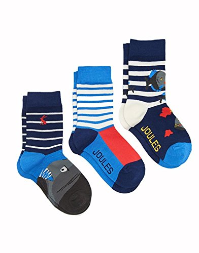 Joules Boys Drei Pack Bambus Socken Set - M/L - UK Shoe 13-3 / EU 32-36 / US 1-4 (Kreide-streifen-hose)