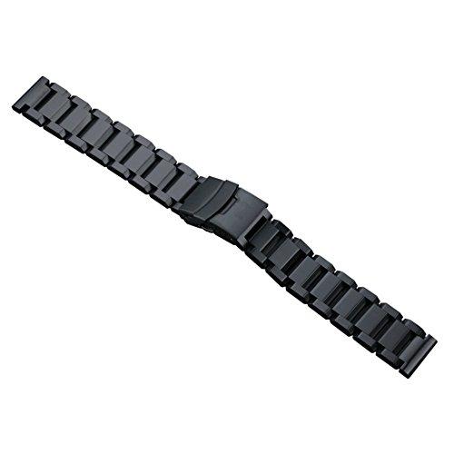 solidi cinturini per orologi 22mm da uomo nero lusso in acciaio inox tipo pesante chiusura chiusura di sicurezza in stile Oyster spazzolato finitura opaca