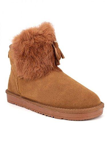 Cendriyon, Boots fourée TOUR CUIR PEAU STEPHAN Chaussures Femme Caramel