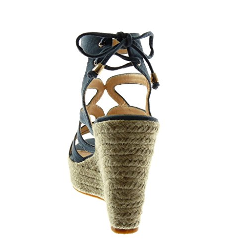 Angkorly Chaussure Mode Sandale Mule Plateforme Spartiates Femme Corde Tréssé Multi-Bride Talon Compensé Plateforme 11 cm Bleu