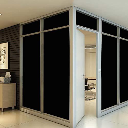 Wrighteu Vinilo Negro para Ventana Cristal Pegatina Electricidad Estática Protectora Solar Opaco Autoadhesiva Protección de la Privacidad para Ventana Puertas Baño Balcón 45 * 200cm