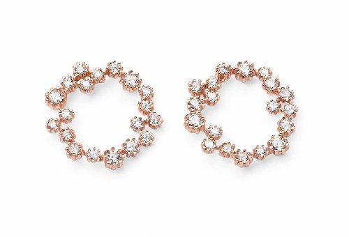 925 Sterling Silver Cancella Cubic Zirconia orecchini circolari in oro rosa placcato goccia