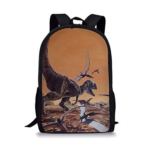 POLERO Large Coole Schule Tasche Dinosaurier-Nette Kinder Durable Personalisierte Rucksack Bookbags Pterosauria und Velociraptor in Sandsturm - Japanische Schule, Kleidung