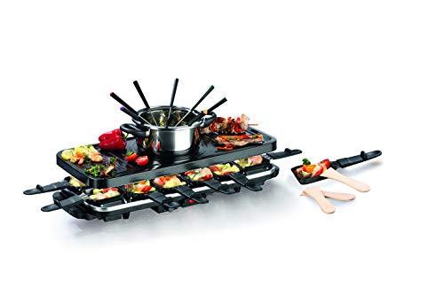 Raclette und Fondue Party-Grill Elektro Set für 4-12 Personen | inkl 12 kleinen...