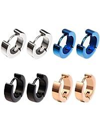 ecb0686dc 4 Pairs Stainless Steel Mens Womens Small Hoop Earrings Hypoallergenic Hoop  Piercings