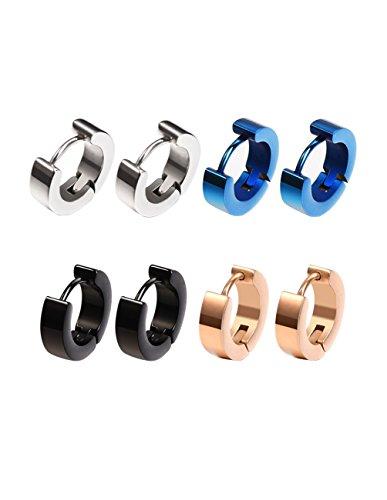4 Pairs Stainless Steel Mens Womens Small Hoop Earrings Hypoallergenic Hoop Piercings