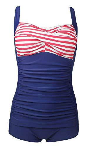 Bslingerie® Sexy Damen Retro Bademode Übergröße Halfter einteiliger Badeanzüge Monokini (XL, Lila Leoparden-Print) - Leopard Monokini