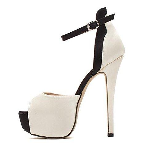 WZG Neue Schuhe Fischkopf flach Mund Schnalle Satin Hohl Schuhe Farbe mit feinen neuen High buchstabieren mit sexy Sandalen nude color