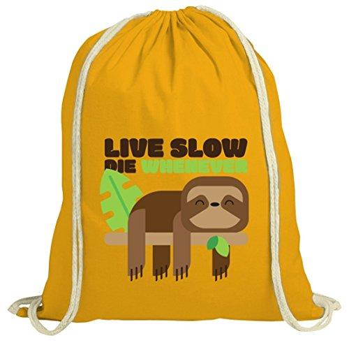 Faultier natur Turnbeutel mit Live Slow Die Whenever Motiv von ShirtStreet gelb natur
