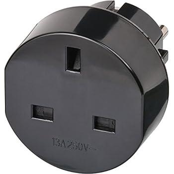 Brennenstuhl Reisestecker Adapter, Steckdosenadapter Reise (Für: Euro Steckdose und England Stecker) Farbe: schwarz