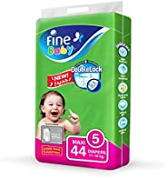 Fine Baby Double Lock, Size 5, Maxi, 11-18 kg, Jumbo Pack, 44 Diapers