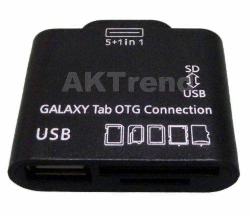 AKTrend® - OTG Kartenleser USB Adapter für Samsung Galaxy Tab 2 10.1 P5110 Tablet PC Kabel , OTG USB KARTENLESER HOST FÜR SAMSUNG GALAXY TAB 2 10.1 GT P3110 P3112 P1000 P5100 , Galaxy Tab 10.1 , 8.9 , 7.7 , P5100 , P5110 , P511 , P7500 , P7100 , P7300 , P7510 , P6800 , Unterstützt MS , SD , SDHC , MMC , MMC2 , RS-MMC , SD ULTRA2 , EXTREME SD , TF Für Galaxy Note 10.1 GT-N8000, GT-N8010, LTE GT-N8020, Galaxy Tab 7.0 GT-P3113, etc.