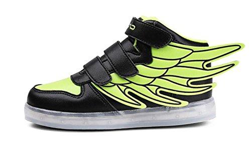 Wealsex Baskets Mode Motif D'ailes PU Cuir Scratch LED Lumière Clignotant 7 couleurs USB Rechargeable Enfant Unisexe Garçon Fille Vert