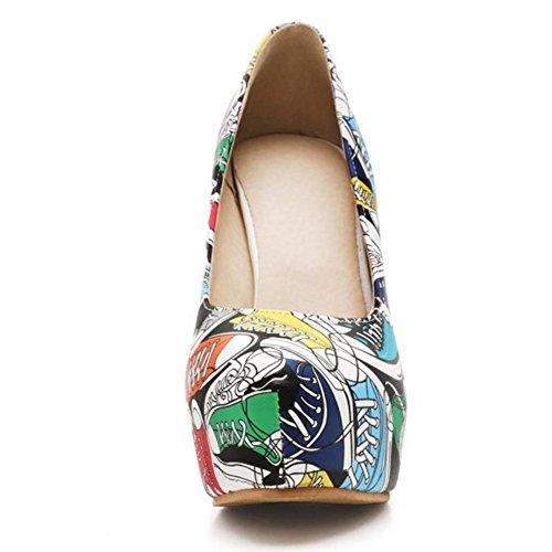 TAOFFEN Damen Basic Slip On Thin High Heel Pumps Platform Party Dress Schuhe Blau