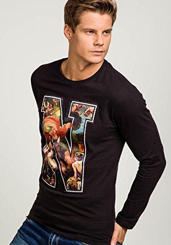 BOLF Herren Sweatshirt Longsleeve Pullover Sweatjacke New Langarm Streetwear Shirt Pullover Pulli Men Rundhalsausschnitt O-Neck BOLF Herren T-shirt Figurbetont Kurzarm Aufdruck STEGOL 547 Schwarz_7338