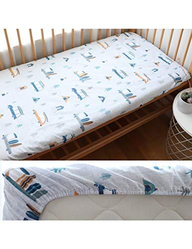 HAZUQU Bettlaken Baby Spannbetttuch Für Neugeborene Baumwolle Weiche Krippe Bettlaken Für Kinder Matratzenbezug Protector 130X70 cm, Auto,