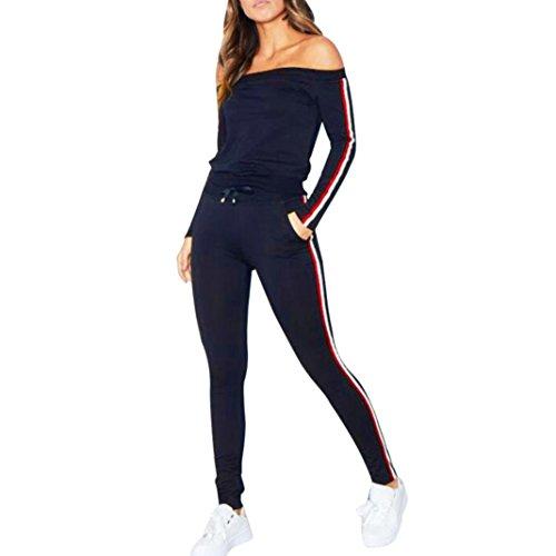 Sweatshirt damen Kolylong® 1 Set Frauen Elegant Sport Outfits Trägerlos Langarm Bluse + Hose lange Casual Sportanzug Yoga Fitness Jogging Sportkleidung (Marine, L)