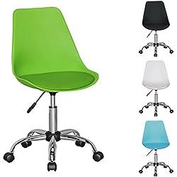 FineBuy HAINAN | Silla giratoria con asiento de cuero sintético | Silla giratoria de oficina regulable en altura | silla de escritorio con respaldo | silla de los jóvenes con asiento moldeado