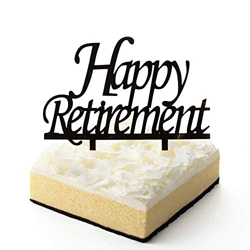 ement Cake Topper, Schwarz Acryl Kuchen Dekore für Retirement Party ()