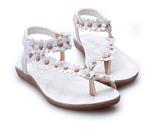 YOUJIA Femmes Boho Sandales Fleurs Strass lanière cheville Clip Toe Plage Chaussures Blanc