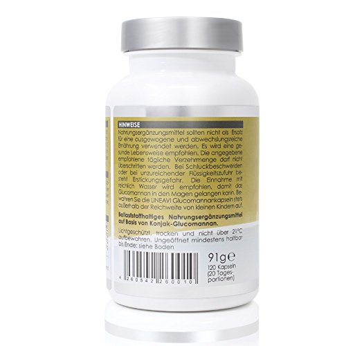 4143d5avUmL - LINEAVI Glucomannan • 3000 mg glucomannan • plant fiber from the konjac root, which supports weight loss • satiation capsules • made in Germany • 120 capsules