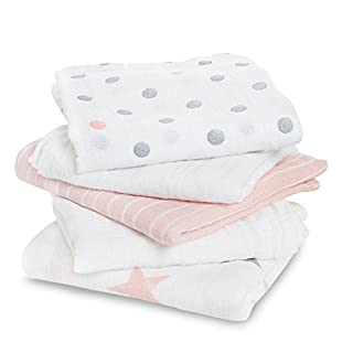 aden by aden + anais muslin squares, 100% cotton muslin, 60cm x 60cm, 5 pack, doll
