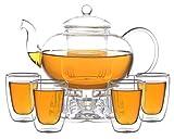 Aricola Teeset Melina 1,8 Liter. Glas-Teekanne 1,8 Liter mit Glassieb, 4 doppelwandige Teegläser 200ml und Glasstövchen