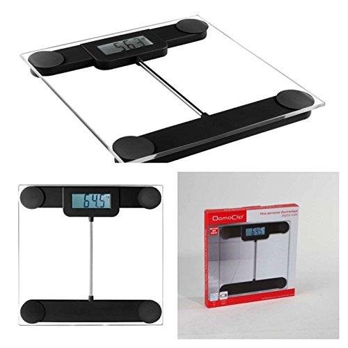 Digitale Personenwaage aus Glas schwarz (100 gr-Schritten, Glas-Waage, 6 bis 180 kg, LCD-Anzeige, automatische Abschaltung)