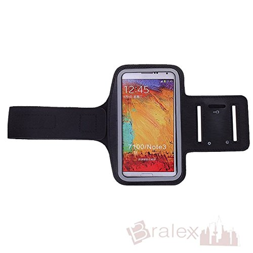 BRALEXX Sporttasche Armtasche Smartphonetasche passend für Oppo N1 mini, Schwarz