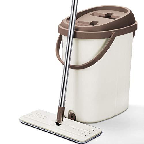 ZXW trapeadores- Lavado a Mano de Limpieza del hogar de Acero Inoxidable, trapeador húmedo y seco Dos Colores (Color : Rice Color, Tamaño : 37x25.5x43cm)