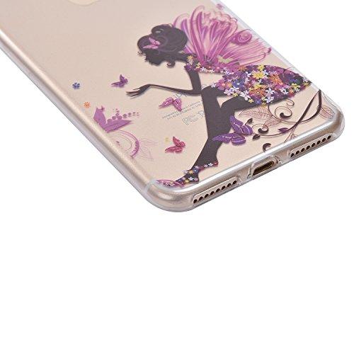 Custodia Cover iPhone 7, IJIA Ultra Sottile Trasparente Vestito Cenerentola TPU Silicone Morbido Protettivo Coperchio Skin Custodia Bumper Protettiva Case Cover per Apple iPhone 7 (4.7) + 24K Sticker color-WM9
