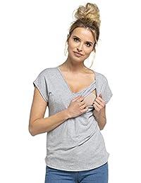 Happy Mama. Para Mujer Top Camiseta Lactancia Cuello Redondo Doble Capa. 943p