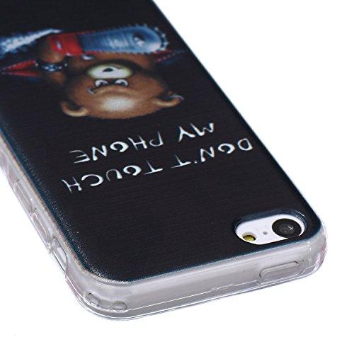 Coque Housse pour iPhone 5c, iPhone 5c Coque Silicone Etui Housse, iPhone 5c Souple Coque Etui en Silicone, iPhone 5 Silicone Transparent Case TPU Cover, Ukayfe Etui de Protection Cas en caoutchouc en Tronçonneuse Ours