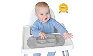 EasyMat Mini Portable Baby Suction Plate with Lid, Folding Sides and Carry Case (Grey)