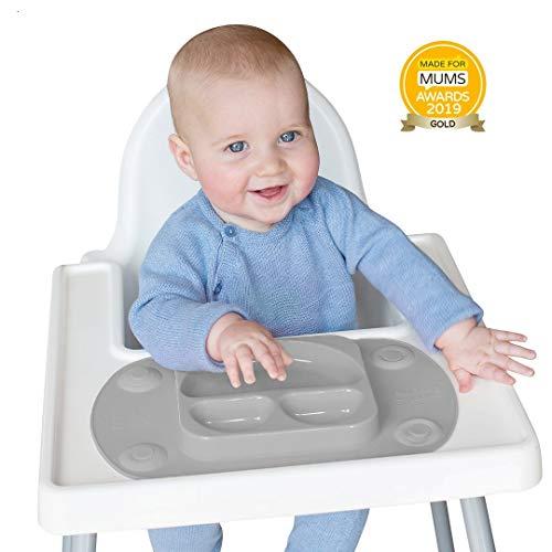 EasyMat - Piatto / Tovaglietta Portatile con Ventosa per Bambino (Grigio)