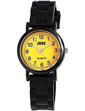 QBOS Watch Kinderuhr mit Silikonarmband Schwarz Lernuhr analoge Armbanduhr