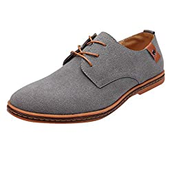 Fenverk Herren Derby SchnüRhalbschuhe Leder Klassiker Oxfords SchnüRer Modische Anzug Schuhe Klassische Oxford Wildleder 2. Generation(Grau,41 EU)